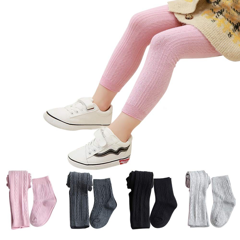 Girls Leggings Baby Toddler Tights Stockings Cable Knit Cotton Pants 4 Pack Footless Tights /& 4 Pairs Socks