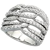 Sterling Silver Flames Pattern Cubic Zirconia Ring with Brilliant Cut Stones, 11/16 inch (17 mm) wide, size 7