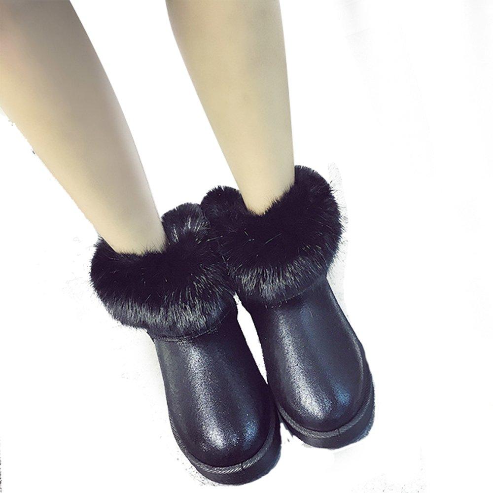 気質アップ Spritech ( TM )ファッション女性暖かいフラットファーボタンエレガントなタッセル付き冬雪ブーツ US Black 6 US 6 6 US Ash Black B01ALHE016, estylemoda:321fdad5 --- ciadaterra.com
