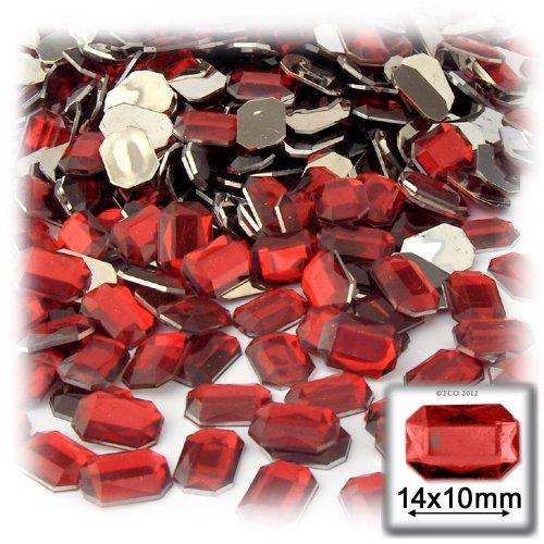 長方形の八角形クラフトアウトレット144アクリルアルミ箔フラットバックラインストーン、10by 14mm、ルビーレッドの商品画像