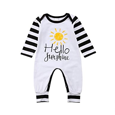 2a8e5aed1c3 Lamuusaa Toddler Newborn Infant Baby Girl Boy Long Sleeve Jumpsuit Striped  Romper Bodysuit Playsuit Sunsuit Casual