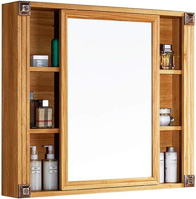 Puertas corredizas Espejos de baño con repisa, Espejo de maquillaje de aluminio de American Space, Espejo de gabinete de madera para sala de estar, Baño, Dormitorio,70x70x12cm