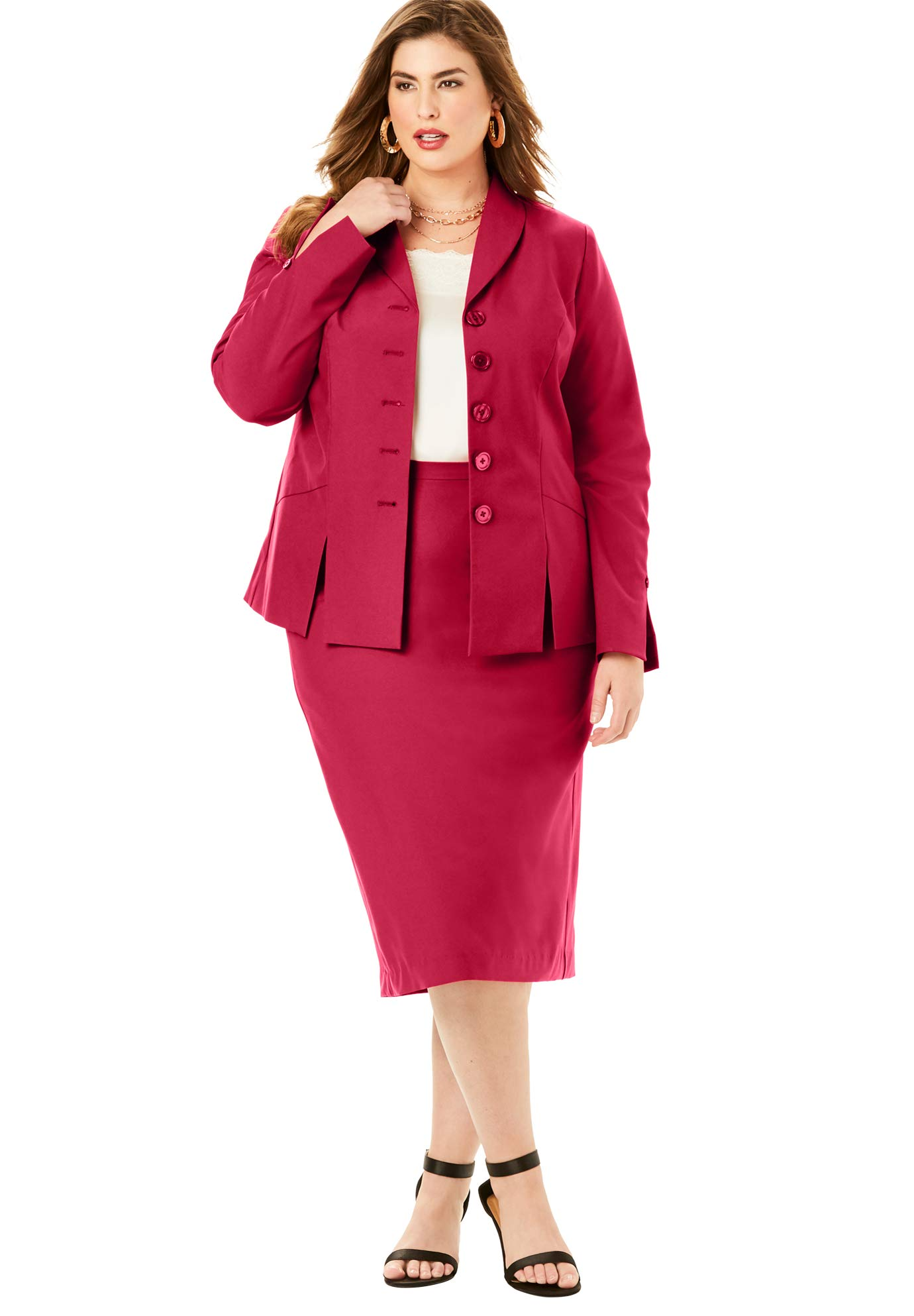 Roamans Women's Plus Size Two-Piece Skirt Suit with Shawl-Collar Jacket - Classic Red, 24 W by Roamans
