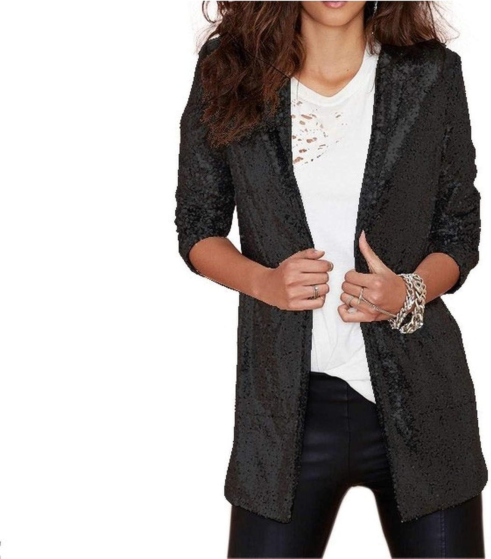 Bakiom Women Silver Black Sequin Blazers Jacket Long Sleeve Elegant Suit Coat Night Club Glitter Shiny Punk Outwear