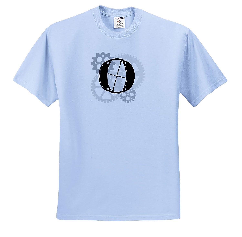 Mechanics Grey cogs Monogram Mechanics Machinery T-Shirts Gears 3dRose Alexis Design Nice Black Letter O