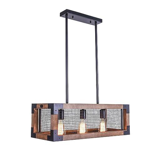 Lingkai Industrial Kitchen Island Light 3-Light Wood Chandelier Retro Ceiling Pendant Hanging Light Fixture Square Wood Frame Metal Iron Net Lamp Caged Light