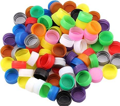100 tapas de plástico para botellas de manualidades, protección del medio ambiente, para niños, desarrollo de inteligencia, barras de jardín de infantes: Amazon.es: Juguetes y juegos