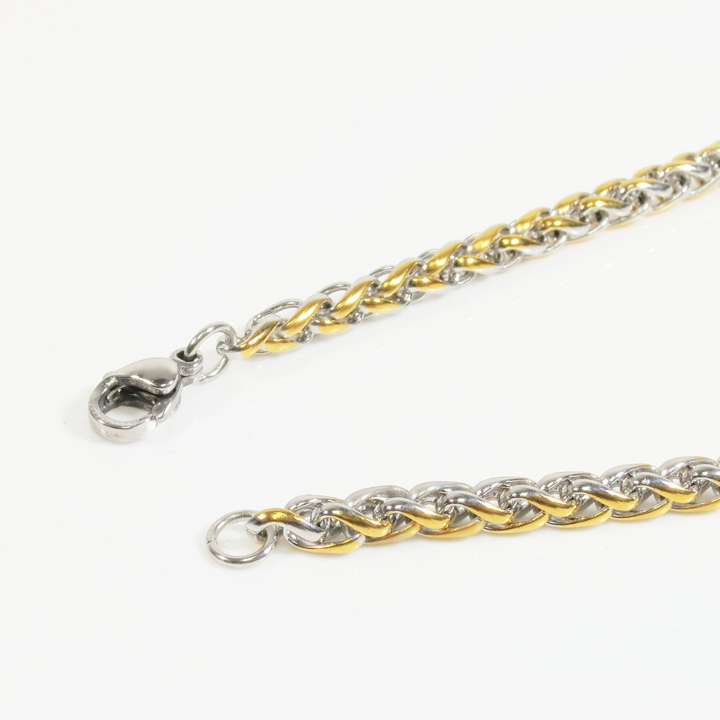 Stainless Steel 2 Tone Silver Gold Wheat Chain Men Necklace 4mm
