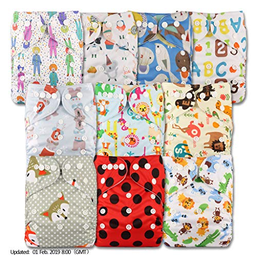 Reusable Pocket Cloth Nappy Set of 10 Littles /& Bloomz Patterns 1005 Fastener: Popper Without Insert