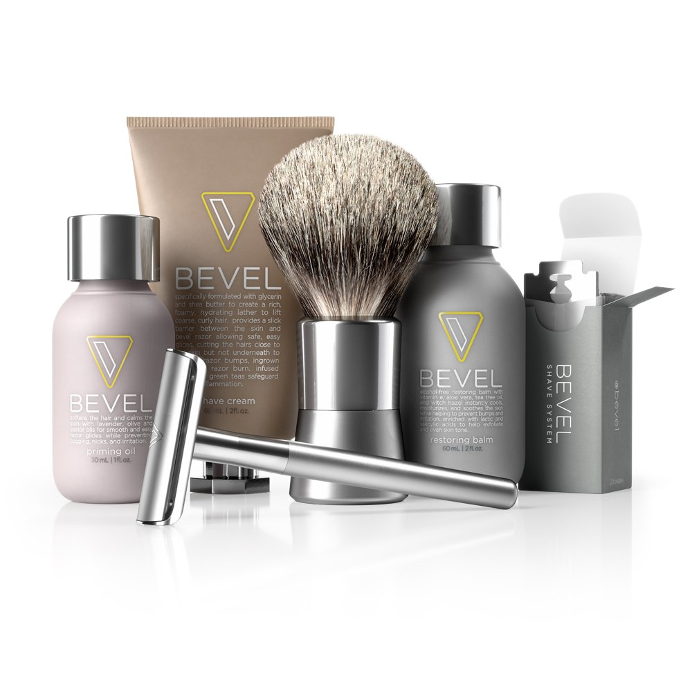 Bevel Shave System - Large Kit. Safety Razor, Shave Cream, Oil, Balm and 60 Blades. Clinically Tested to Help Prevent Razor Bumps by Bevel