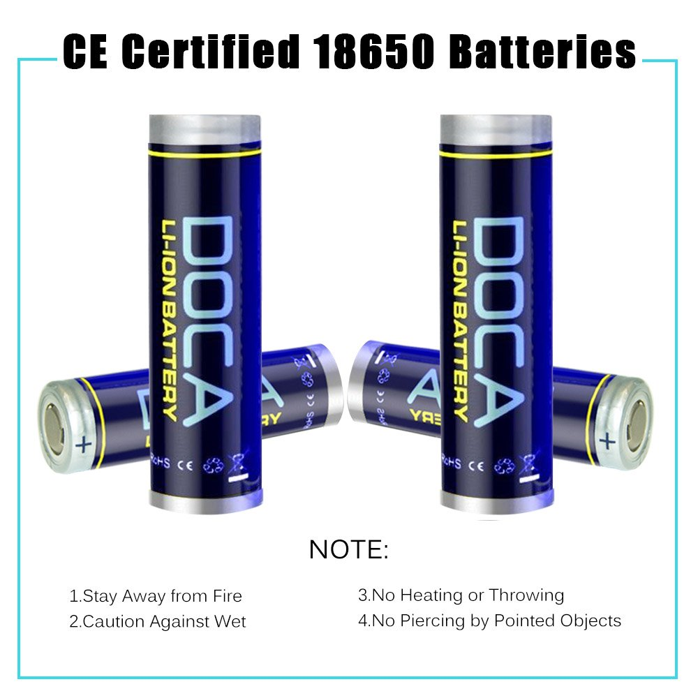 18650 Battery Doca 37v Rechargeable Li Ion Batteries Protection Circuit For Led Torch Sanyo Cell 2600mah 37 Volt Batteries1 Pair Applicable Torcheshandheld Flashlight