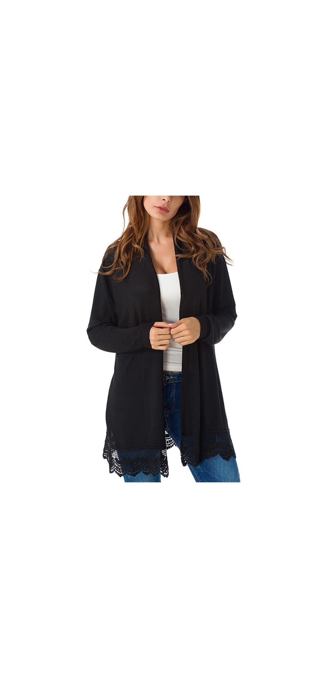 Women's Elegant Black Lacy Splicing Sweater Cardigan Long