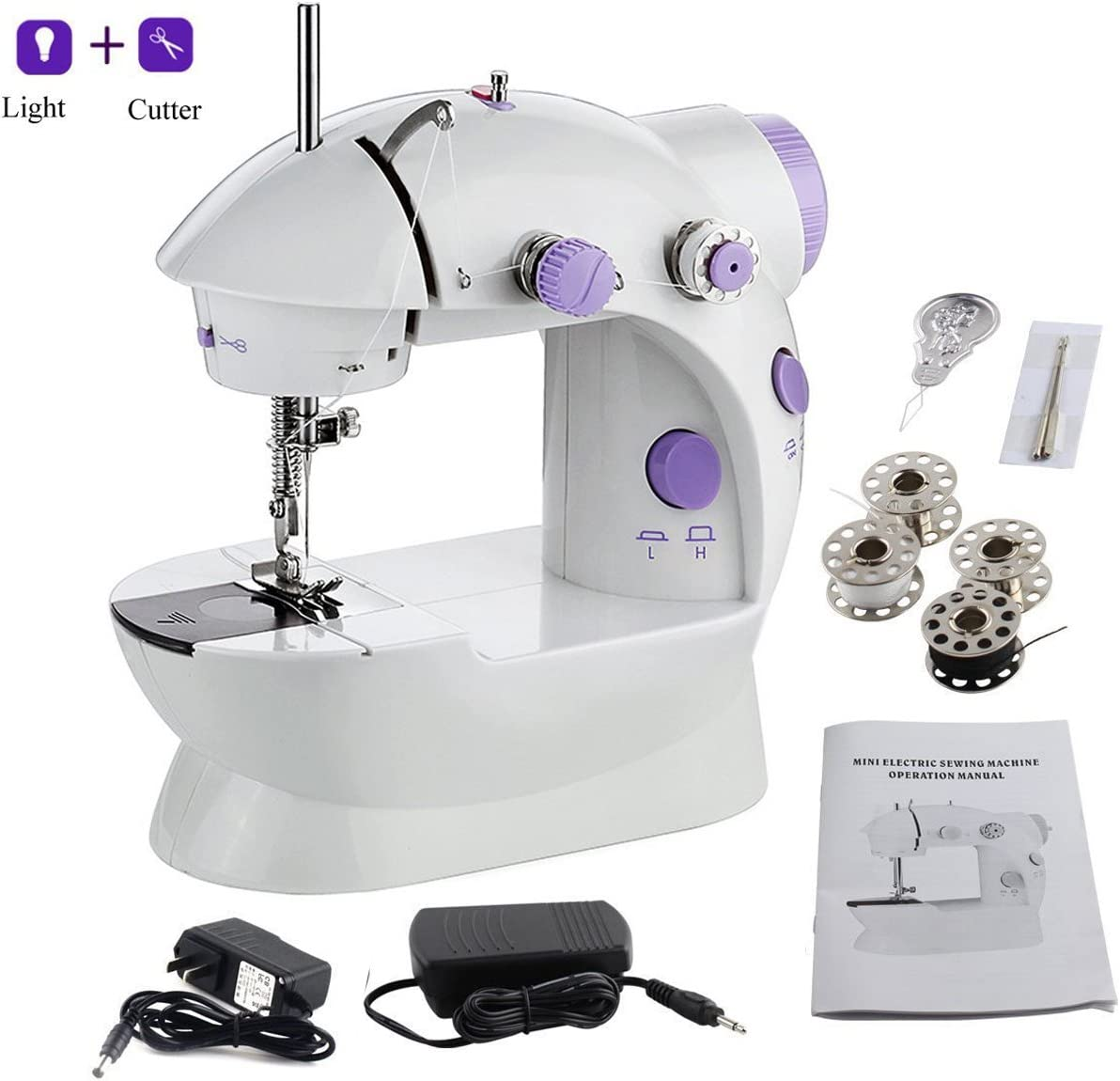 Mini Sewing Machine Portable Electric Crafting Mending Machine 2-Speed Double Thread with Light for Beginner
