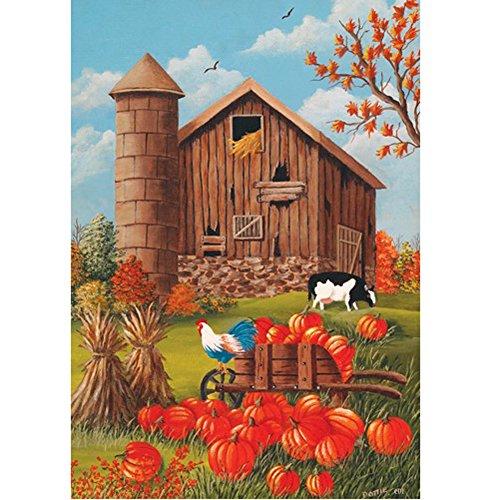 Fall Barn Scene - Standard Size 28 Inch X 40 Inch Decorative Flag