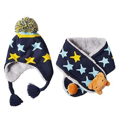 Boomly Bébé Chapeau d hiver + écharpe Cache-Oreilles Chaud Beanie Bonnet  Impression d 37808d69ef0