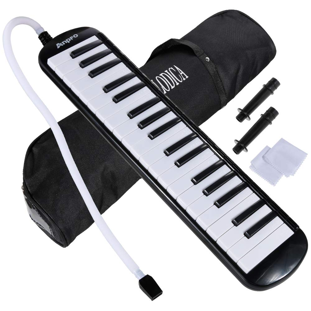 Anpro 37 Key Melodica,Harmonica Instrument Air Piano Keyboard with 2 Mouthpieces Musical Instrument with Carrying Bag for Teaching and Playing (37 Key)