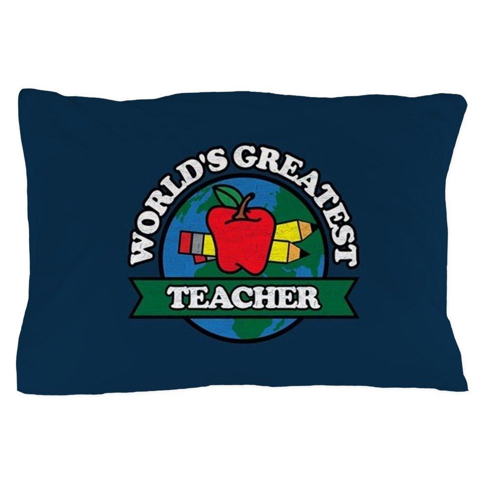 CafePress - World's Greatest Teacher - Standard Size Pillow Case, 20''x30'' Pillow Cover, Unique Pillow Slip