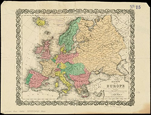 (Vintage Map | 1860-1869 Bacon's map of Europe | Historic Wall Decor Poster Art Reproduction | 59in x 44in)
