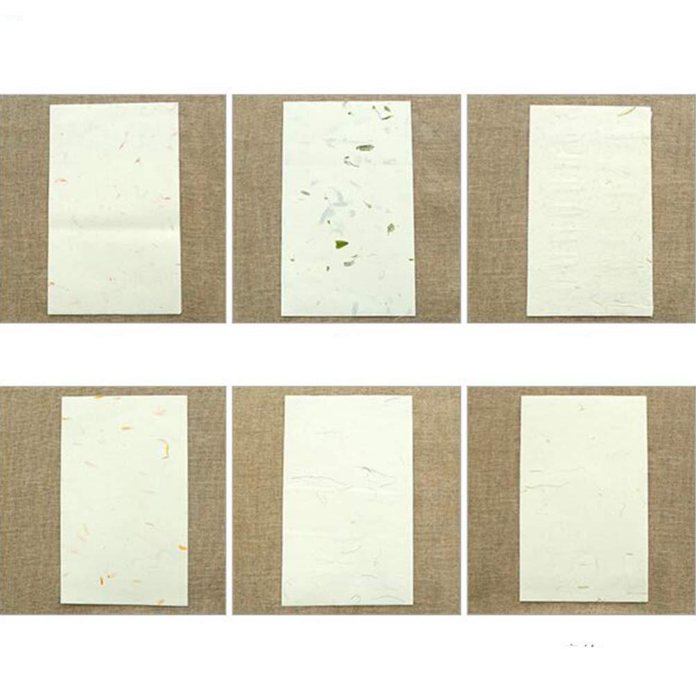STOBOK 40Pcs Carta Calligrafia Cinese Pennello Pianta Naturale Carta di Riso Artigianale Carta Velina Fatta a Mano Carta Gelso Carta Xuan Carta da Lettere