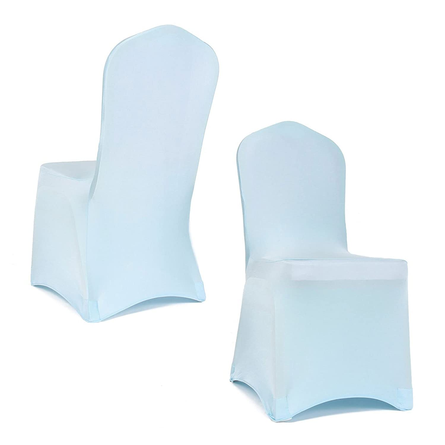Single Baby Blue Chair Cover Spandex Lycra Wedding Banquet Birthday Party Events Dining Elasticated Arched Front by Trimming Shop