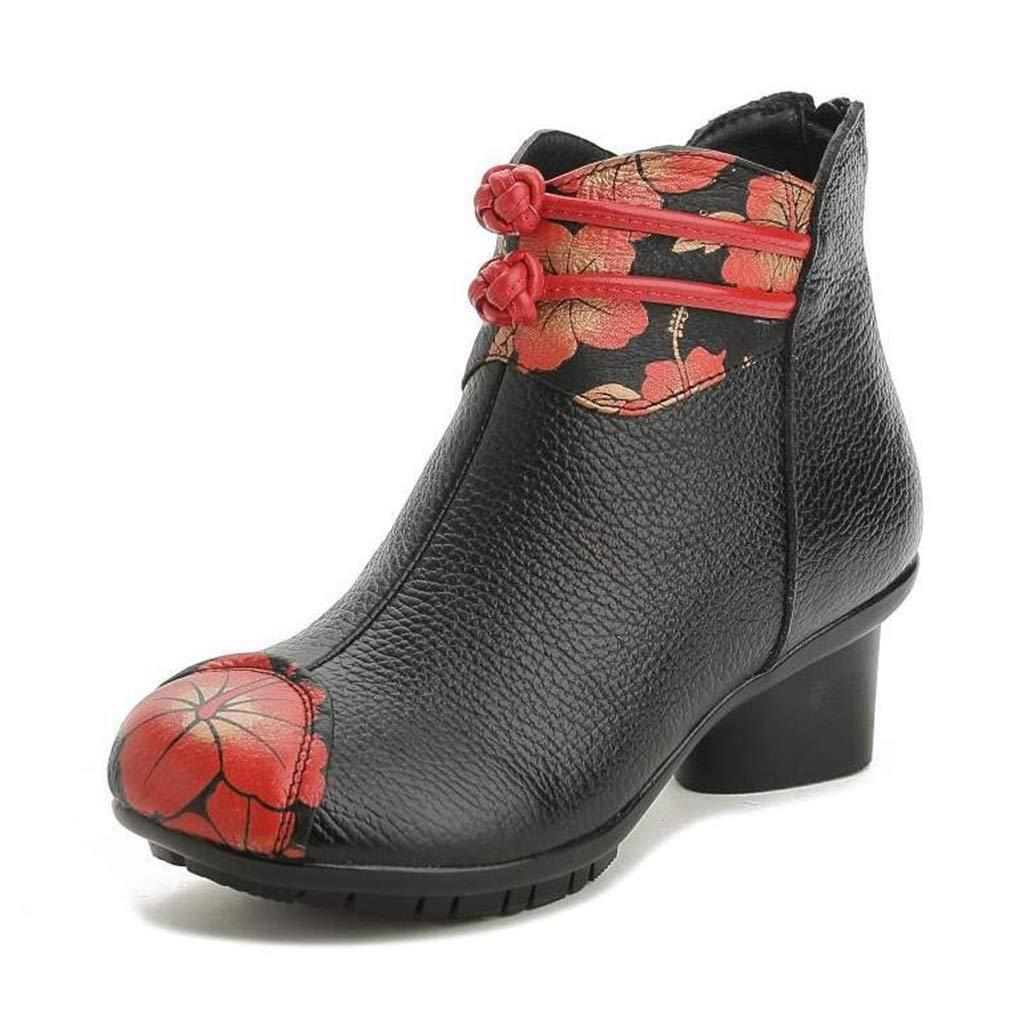 Hy Damenschuhe Leder Herbst Winter Stiefel Damen Retro Blaumen National Wind , Mutter Schuhe Baumwolle Schuhe Formelle Schuhe Martins Stiefel (Farbe   Schwarz Größe   38)