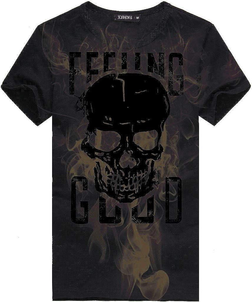 Zulmaliu Mens Letters Printing Tees Shirt Short Sleeve Tops Blouse