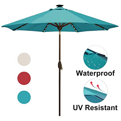 SORARA Patio Umbrella With Solar Powered 64 LED Lights Market Outdoor  Umbrella With Tiltu0026Cranku0026Umbrella Cover,