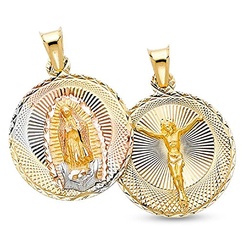 14k Yellow White Rose Gold Jesus Crucifix Charm Double Sided Guadalupe Pendant Round Coin 25 x 20 mm