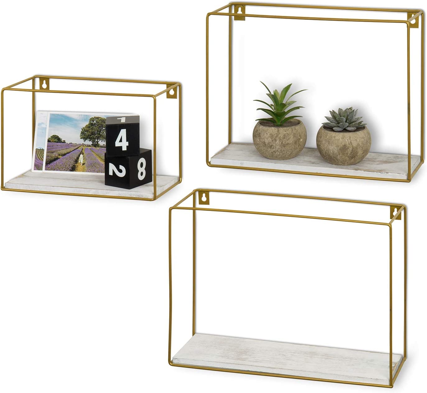 MyGift Modern Brass Metal Wire & Whitewashed Wood Wall Mounted Shadow Boxes/Floating Shelves, Set of 3