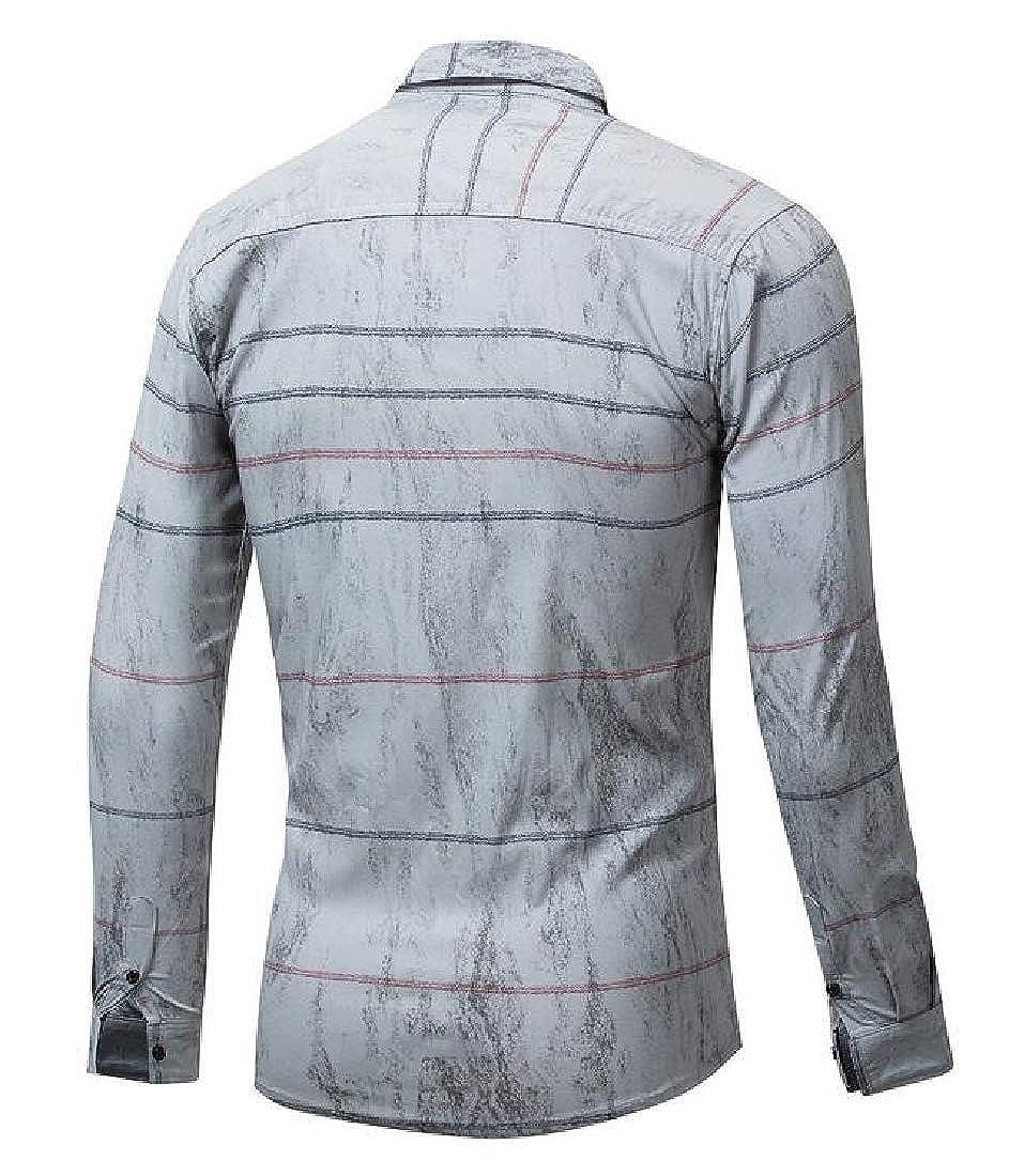 ARTFFEL Mens Slim Fit Long Sleeve Stripe Print Cotton Business Button Up Dress Work Shirt