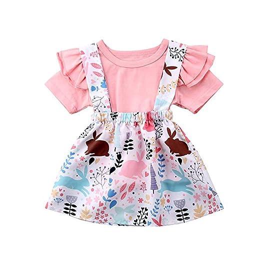 639e02b227b Toddler Baby Girls Easter Skirt Set Ruffle Sleeve T-Shirt Tops+ Bunny Overall  Dress Plus