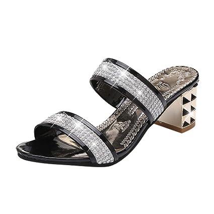 bfb1160a9bb Amazon.com  Women Square Heel Sandals Slippers Ladies Classics ...
