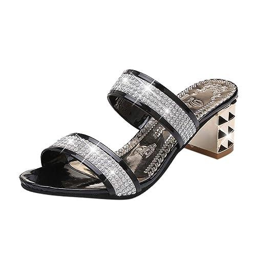 Sandalias de Vestir para Mujer,BBestseller Moda Peep Toe Sandalias de cuña Planas Sandalias Hueco de Diamante de imitación Chanclas Zapatillas: Amazon.es: ...