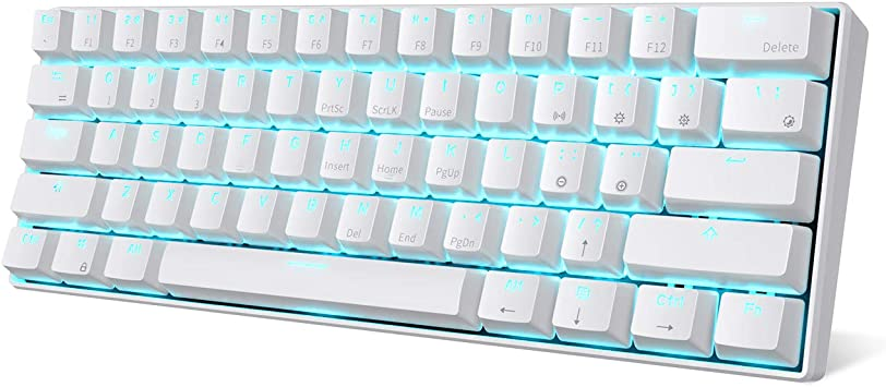 Amazon Com Rk Royal Kludge Rk61 Wireless 60 Mechanical Gaming Keyboard Ultra Compact Bluetooth Mechanical Keyboard With 10 Hours Battery Life And Blue Switches Compatible For Multi Device Connection White Computers Accessories