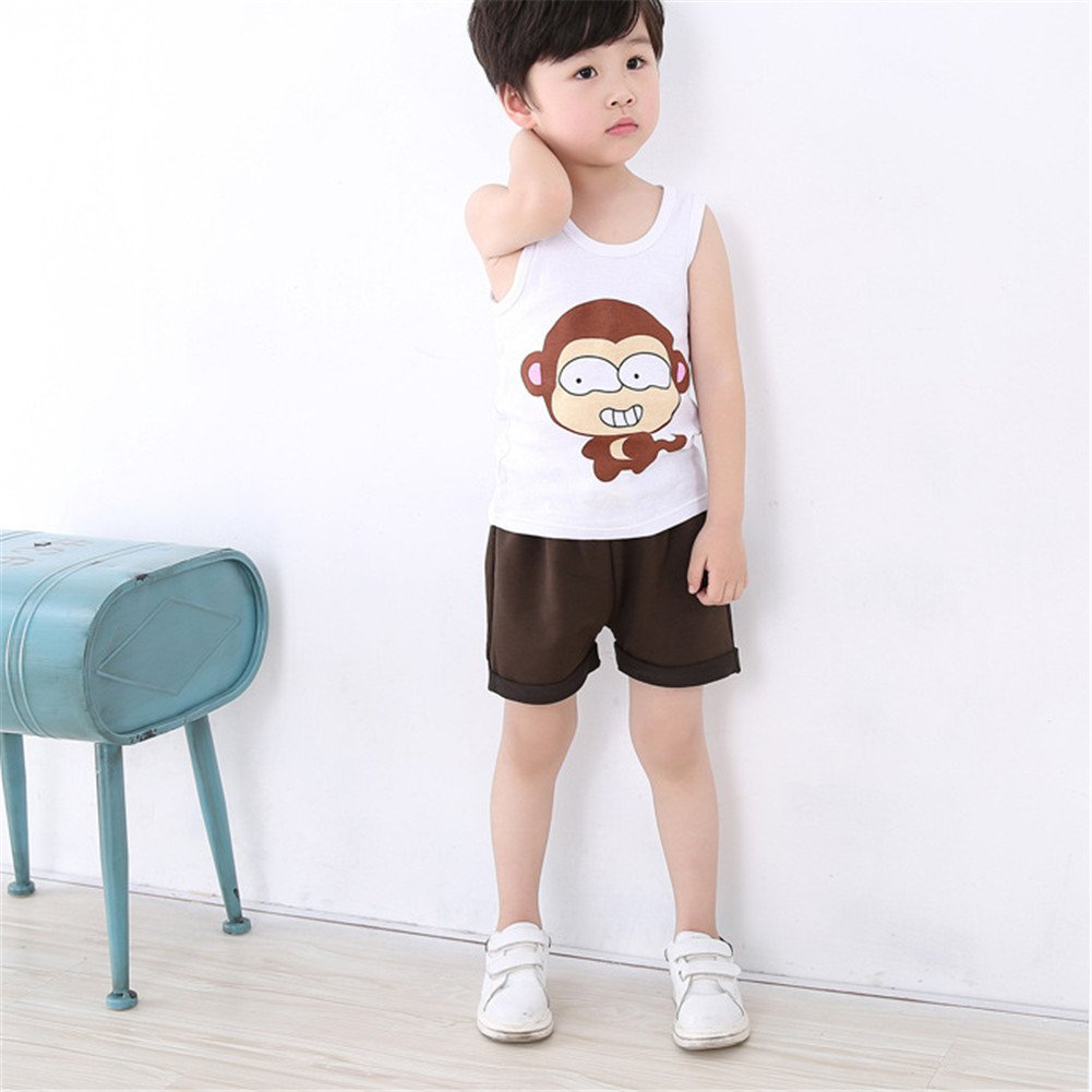 JIEYA Baby Boys Cotton Sleeveless Round Neck Cartoon Printed T-Shirts Tanks Tops,Pack of 3