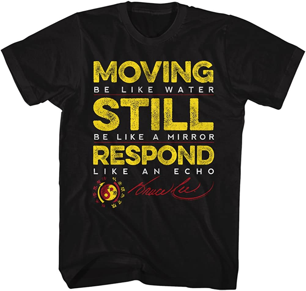 Bruce Lee Martial Artist Moving Be Water Respond Like Echo Adult T-Shirt Tee