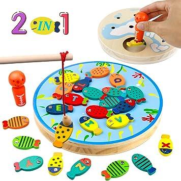PL Juegos de Mesa para Niños- 3 en 1 Juego Pescar Peces Juguete Madera 30 Piezas Alfabeto Magnético de Madera Carta de Peces Juguetes Educativos Niños Niñas 3 4 5 6 Años: Amazon.es: Juguetes y juegos