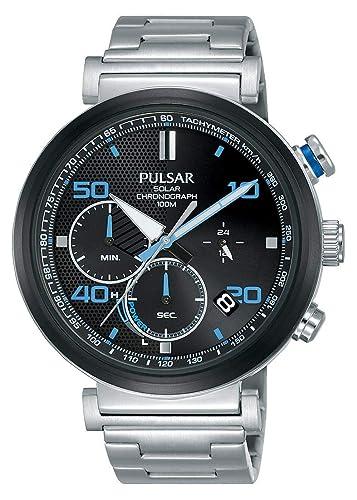 Pulsar Reloj cronografo para Hombre de Energía Solar con Correa en Acero Inoxidable PZ5065X1: Amazon.es: Relojes