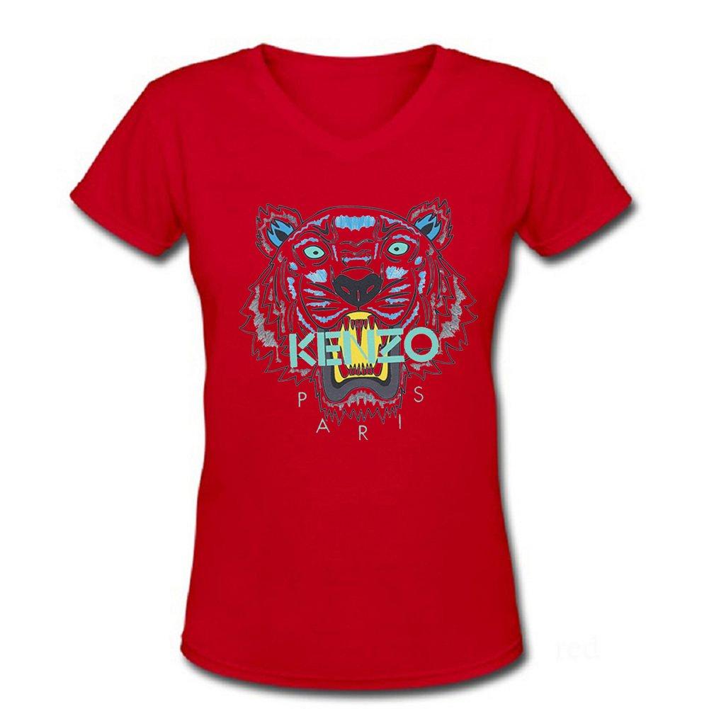 7309022b Top1: daqr Womens Scoop V-Neck T-shirts Kenzo Paris - Pattern 1