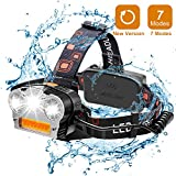 Wsky LED Headlamp, [New Version]Brightest 6000 Lumen and Best 7 Modes Headlight Flashlight, Hands-free and Waterproof Led Headlamp for Camping, Biking, Fishing, Hunting(Batteries Not Included)