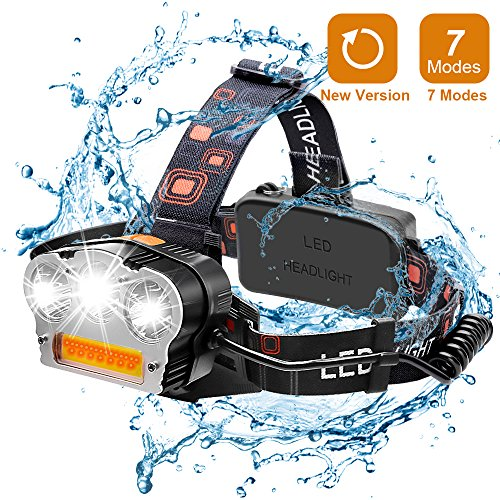 Wsky LED Headlamp, [New Version]Brightest 6000 Lumen and Best 7 Modes Headlight Flashlight, Hands-free and Waterproof Led Headlamp for Camping, Biking, Fishing, Hunting(Batteries Not Included) by Wsky