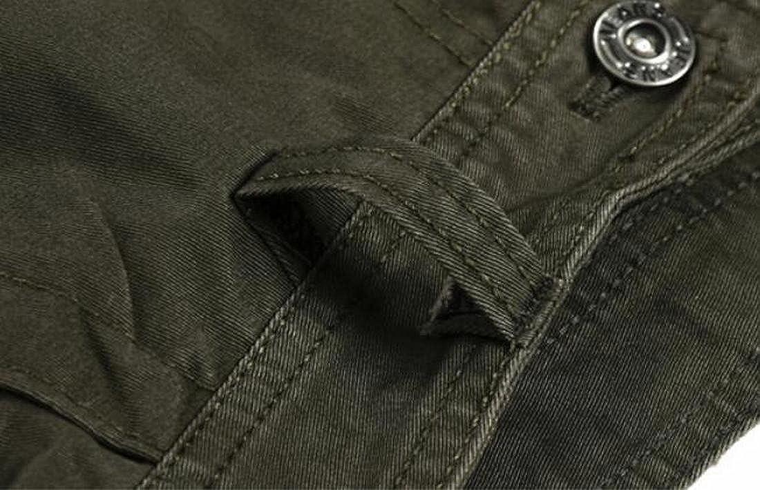 ARTFFEL Mens Multi-Pockets Straight Leg Rugged Military Cotton Cargo Pants