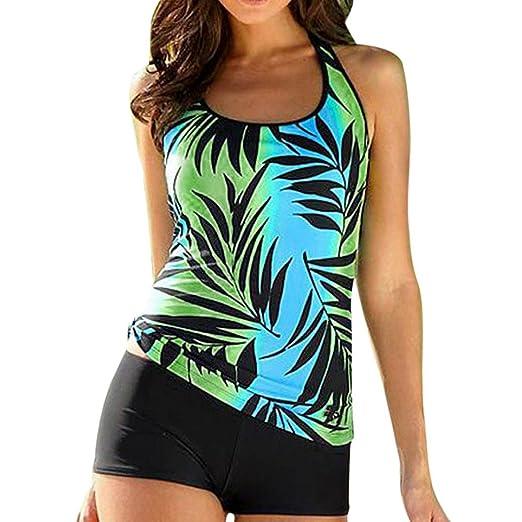 ee3aab057dc POTO Tankini Sets Women s Plus Size Printed Tankini Top Swimsuit with Short  Bottom Bikini Swimwear (