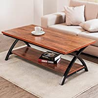 Coffee Table, Tribesigns 48 Modern Large Cocktail Table with Lower Storage Open Shelf and Sturdy X Metal Frame for Living Room, Brown