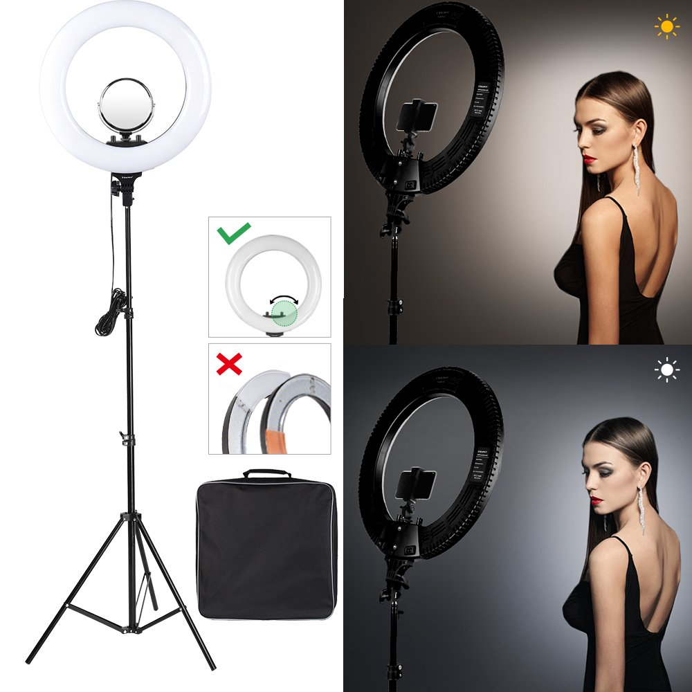 CRAPHY 18'' inch LED Ring Light with Stand and Mirror (Dimmable SMD Bi-color 3200k-5500k, included Hot Shoe, Phone Holder for Camera Smartphone Youtube Video Shooting (Upgraded Generation) …