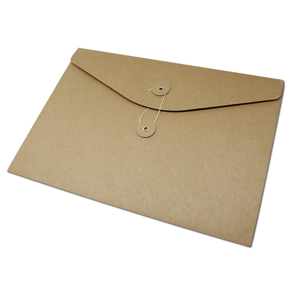 Kraft Paper Document Envelope File Folder Bags Business Project Office Stationery Supplies Contract Material Take Out Container Sleeve Cardboard Organizer Pocket (32x23cm (12.6x9.1 inch), 50 Pcs)