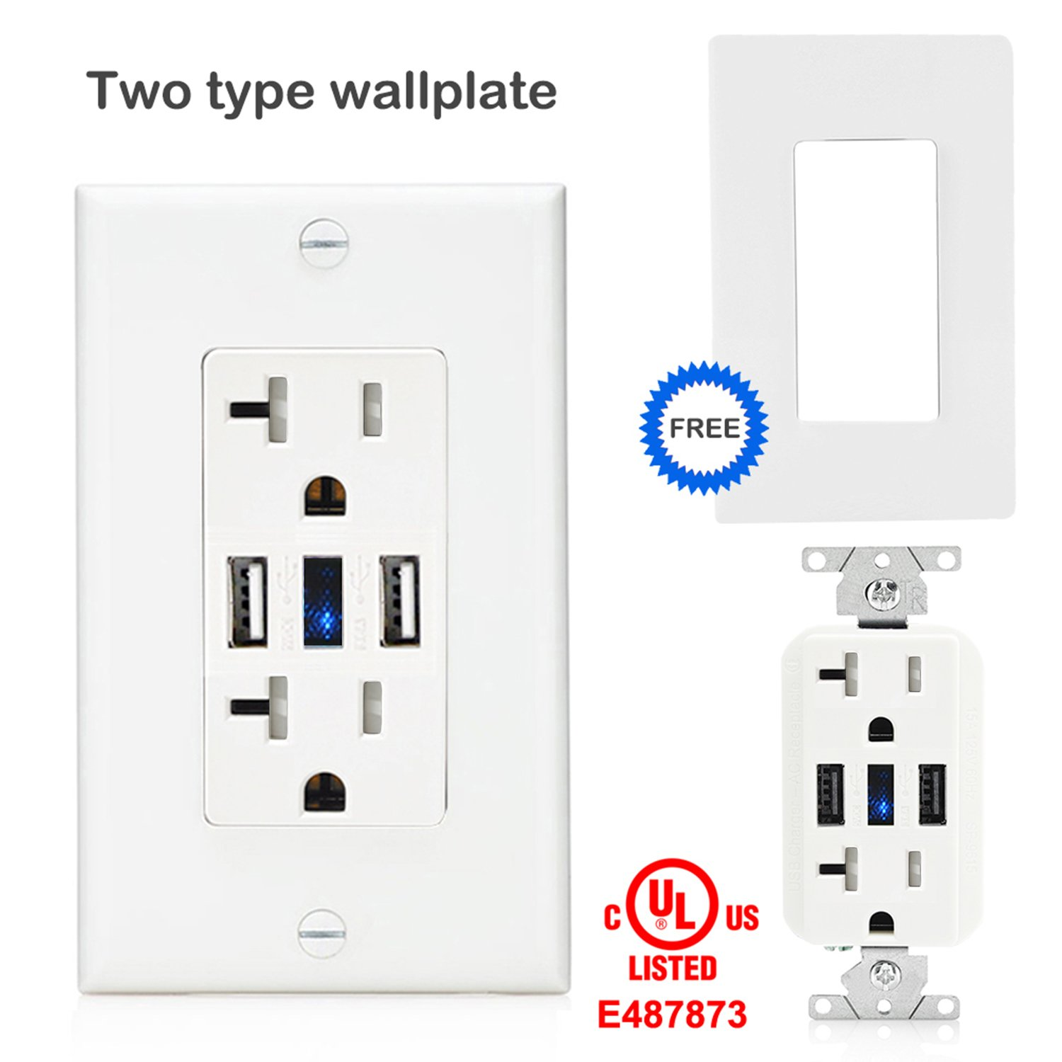 LEISHEN Smart Ultra High Speed USB Charger Outlet 20 Amp TR Receptacle with LED lndicator and Screwless Wall Plates White TWO pieces Faceplates Buy One Get One