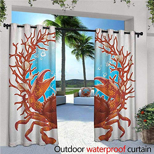 familytaste Seashells Indoor/Outdoor Single Panel Print Window Curtain Crab Spiral Seashells and Red Coral Frame Aquarium Claws Nature Silver Grommet Top Drape W108 x L108 Dark Orange Burgundy White (Red Spiral Peanut)