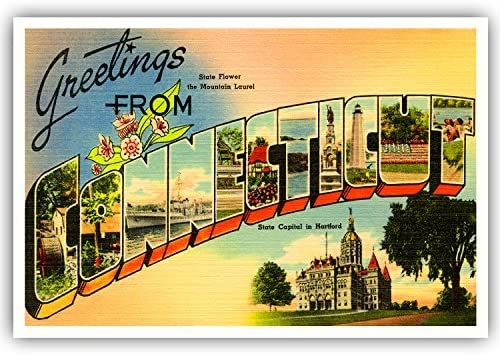 Amazon.com : GREETINGS FROM CONNECTICUT vintage reprint postcard set of 20  identical postcards. Large letter US state name post card pack (ca.  1930's-1940's). Made in USA. : Office Products