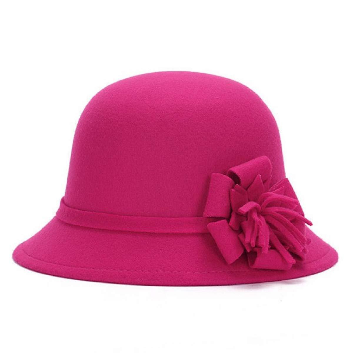 Myhome99 Women Wool Felt Fedora Flowers Hat Ladies Wide Brim Hat Autumn Winter Noble European American Elegant Girls Fashion Cap Royal Blue 2